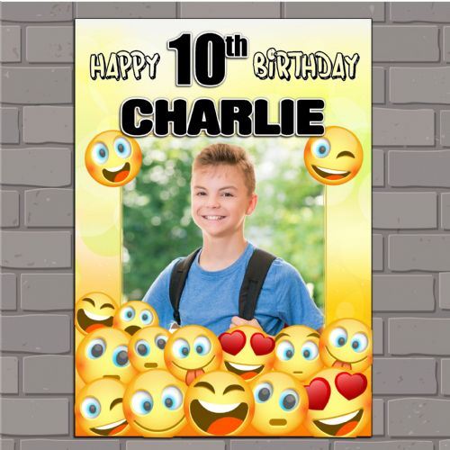 Personalised EMOJI Happy Birthday Party PHOTO Banner Poster N163